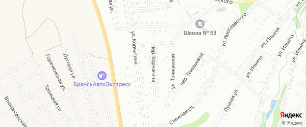 Переулок Корчагина на карте Брянска с номерами домов