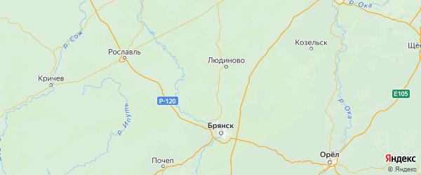 Карта Дятьковского района Брянской области с населенными пунктами и городами