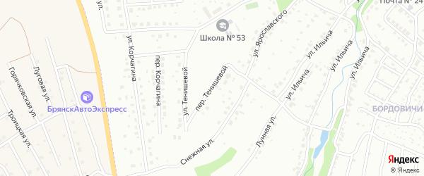 Тенишевой переулок на карте Брянска с номерами домов