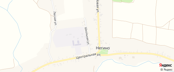 Школьная улица на карте села Негино с номерами домов