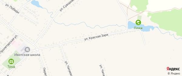 Улица Красная заря на карте поселка Ивота с номерами домов