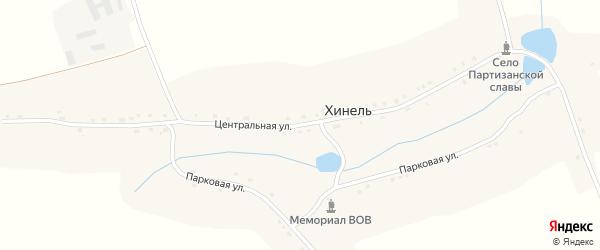 Центральная улица на карте села Хинели с номерами домов