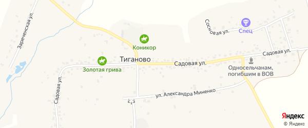 Зареченская улица на карте деревни Тиганово с номерами домов