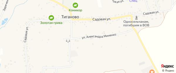 Улица А.Миненко на карте деревни Тиганово с номерами домов