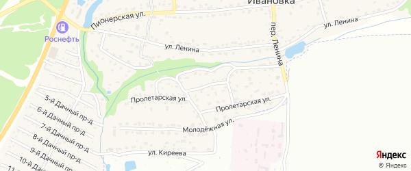 Пролетарская улица на карте поселка Ивановки с номерами домов