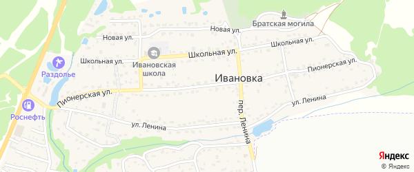 Пионерская улица на карте поселка Ивановки с номерами домов