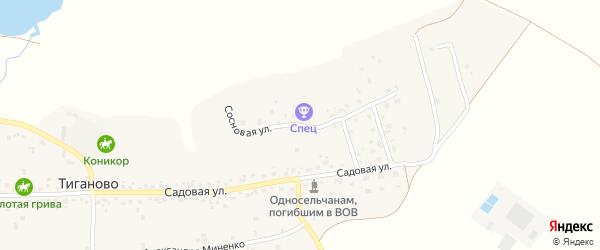 Сосновая улица на карте деревни Тиганово с номерами домов