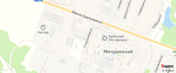 Спортивная улица на карте Мичуринского поселка с номерами домов