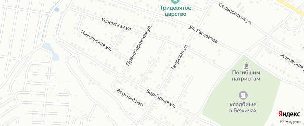 Тверской переулок на карте Брянска с номерами домов