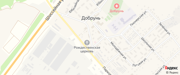 Полевая улица на карте деревни Добруни с номерами домов