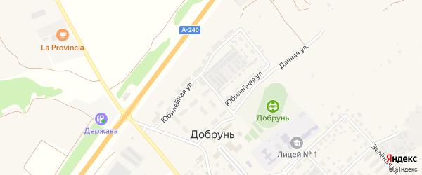 Юбилейная улица на карте деревни Добруни с номерами домов