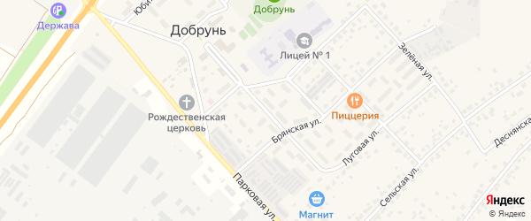 Молодежная улица на карте деревни Добруни с номерами домов