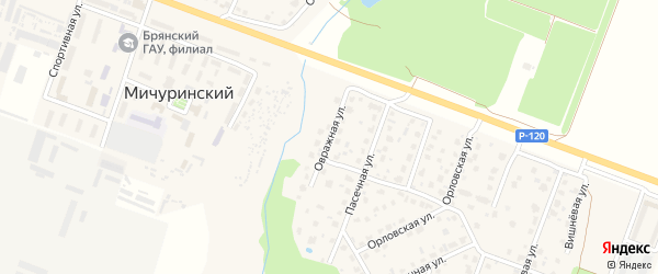 Овражная улица на карте Мичуринского поселка с номерами домов