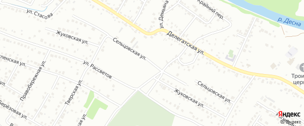 Сельцовская улица на карте Брянска с номерами домов