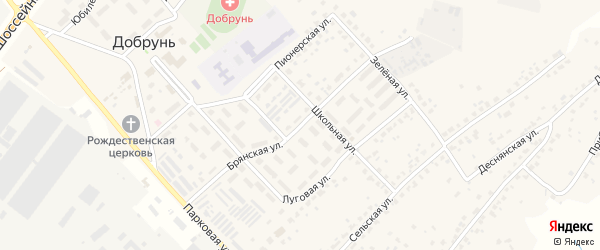 Брянская улица на карте деревни Добруни с номерами домов