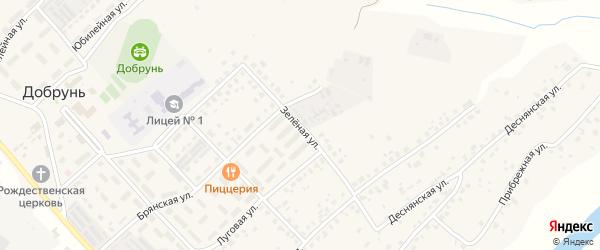 Зеленая улица на карте деревни Добруни с номерами домов