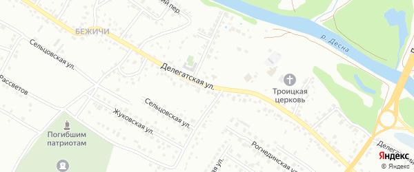 Делегатская улица на карте Брянска с номерами домов