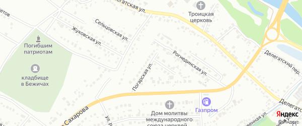 Погарская улица на карте Брянска с номерами домов