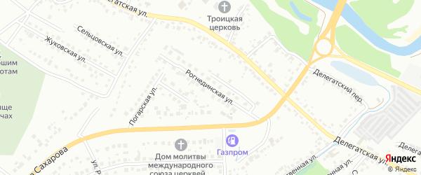 Рогнединская улица на карте Брянска с номерами домов