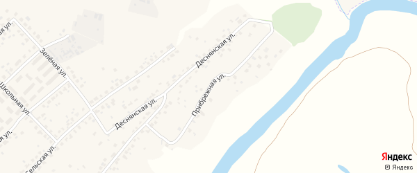 Ппибрежная улица на карте деревни Добруни с номерами домов