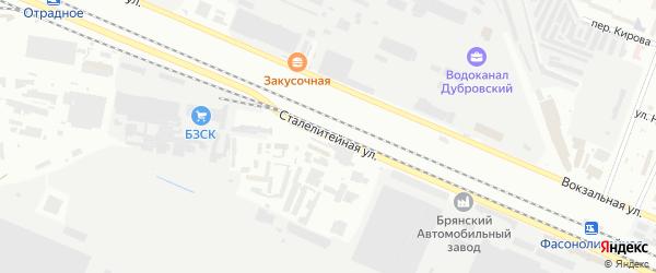 Сталелитейная улица на карте Брянска с номерами домов