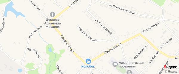 Переулок Строителей на карте поселка Кокоревки с номерами домов