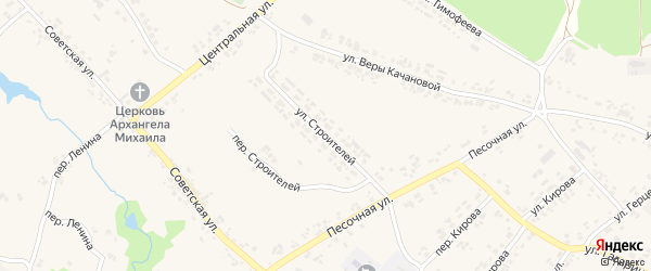 Улица Строителей на карте поселка Кокоревки с номерами домов