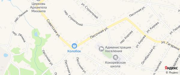 Песочная улица на карте поселка Кокоревки с номерами домов