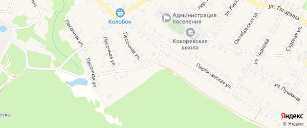 Партизанский переулок на карте поселка Кокоревки с номерами домов