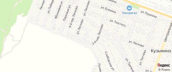 Лескова 3-й переулок на карте поселка Кузьмино с номерами домов