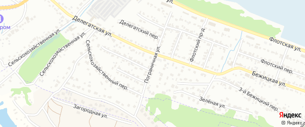 Пограничная улица на карте Брянска с номерами домов
