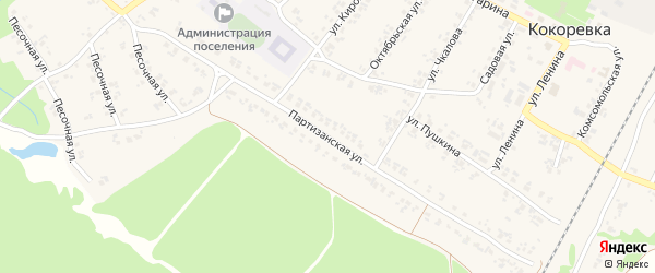 Партизанская улица на карте поселка Кокоревки с номерами домов