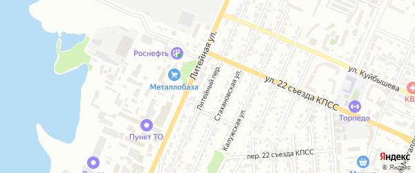 Литейный переулок на карте Брянска с номерами домов
