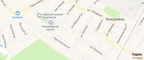 Переулок Чкалова на карте поселка Кокоревки с номерами домов