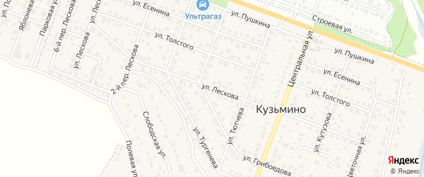 Улица Лескова на карте поселка Кузьмино с номерами домов
