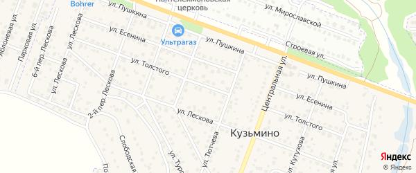 Улица Толстого на карте поселка Кузьмино с номерами домов