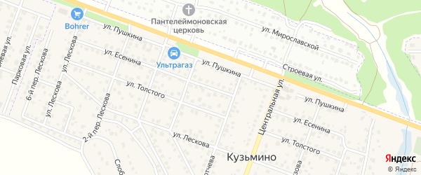 Улица Есенина на карте поселка Кузьмино с номерами домов