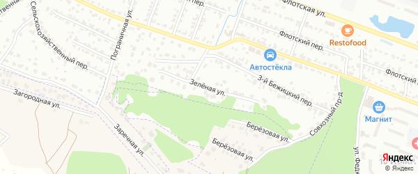 Зеленая улица на карте Брянска с номерами домов