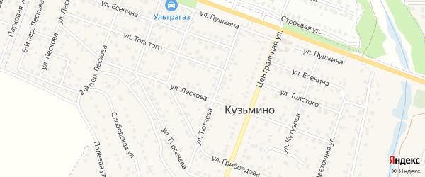 Лескова 2-й переулок на карте поселка Кузьмино с номерами домов