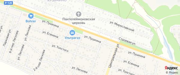 Улица Пушкина на карте поселка Кузьмино с номерами домов