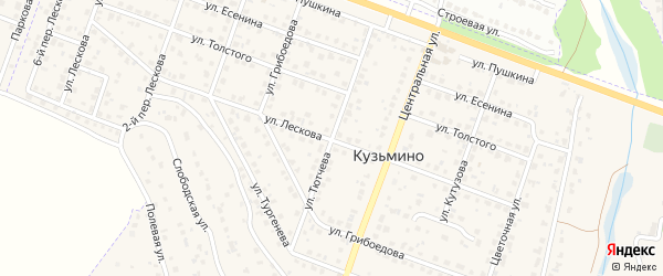 Улица Тютчева на карте поселка Кузьмино с номерами домов