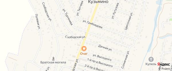 Центральная улица на карте поселка Кузьмино с номерами домов