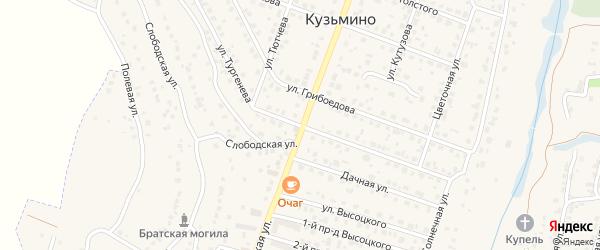 Улица Тургенева на карте поселка Кузьмино с номерами домов