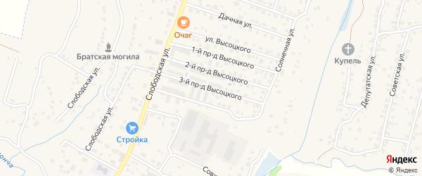 Проезд 3-й Высоцкого на карте поселка Кузьмино с номерами домов