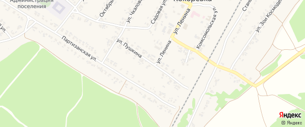 Улица Пушкина на карте поселка Кокоревки с номерами домов