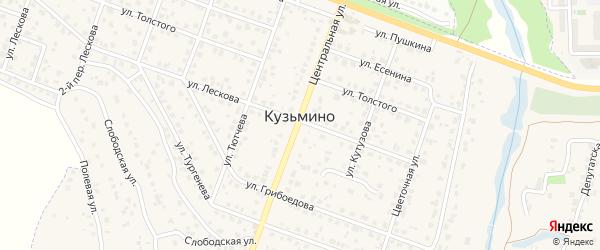 Лескова 1-й переулок на карте поселка Кузьмино с номерами домов
