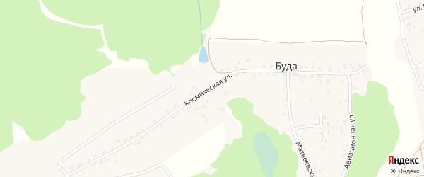 Космическая улица на карте деревни Буды с номерами домов