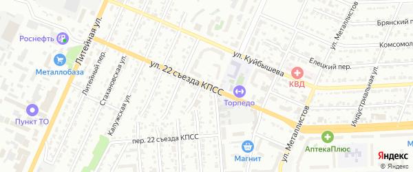Улица 22 съезда КПСС на карте Брянска с номерами домов