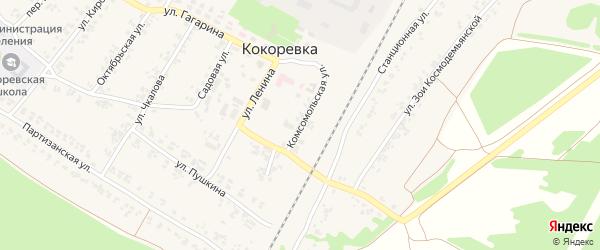 Комсомольская улица на карте поселка Кокоревки с номерами домов