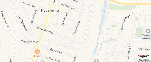 Цветочная улица на карте поселка Кузьмино с номерами домов